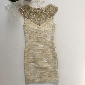 Tony Bowls Beaded Fitted Dress